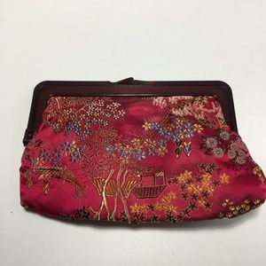 Vintage Asian Embroidered Floral Clutch